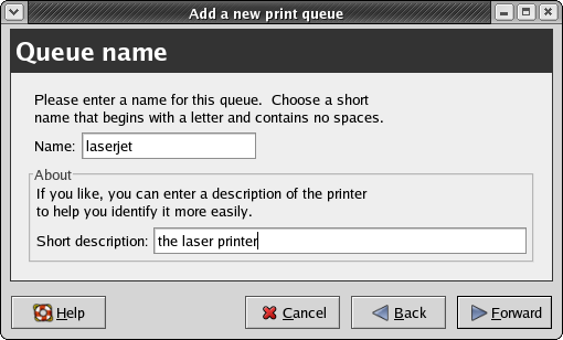 CUPS configuration: the Queue Name panel