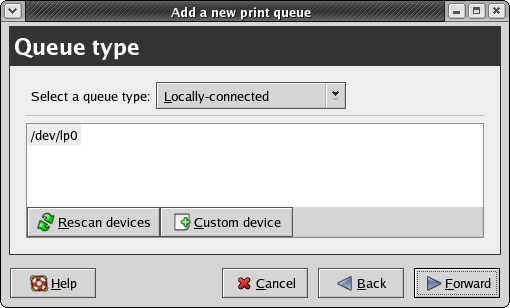 CUPS configuration: the Queue Type panel